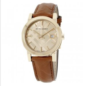 BURBERRY Tan Leather Strap Gold Tone Dial